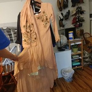 Soft pink designer salwar kameez small dress new w